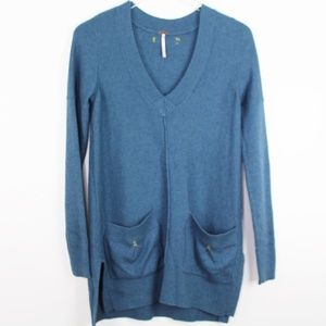 Free people Teal Sweater Tunic Front Pocket